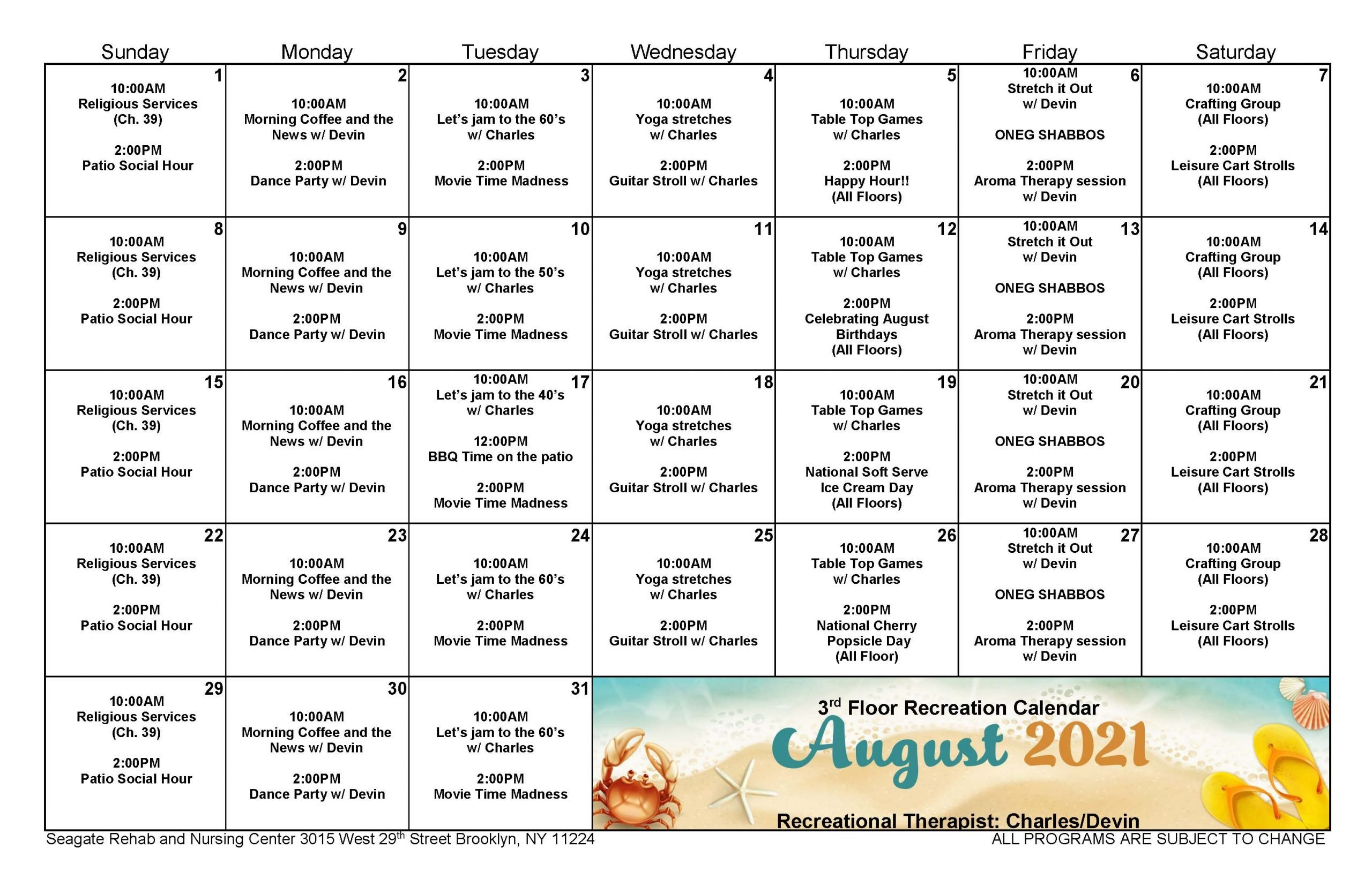 Seagate August Event Calendar for 3rd Floor