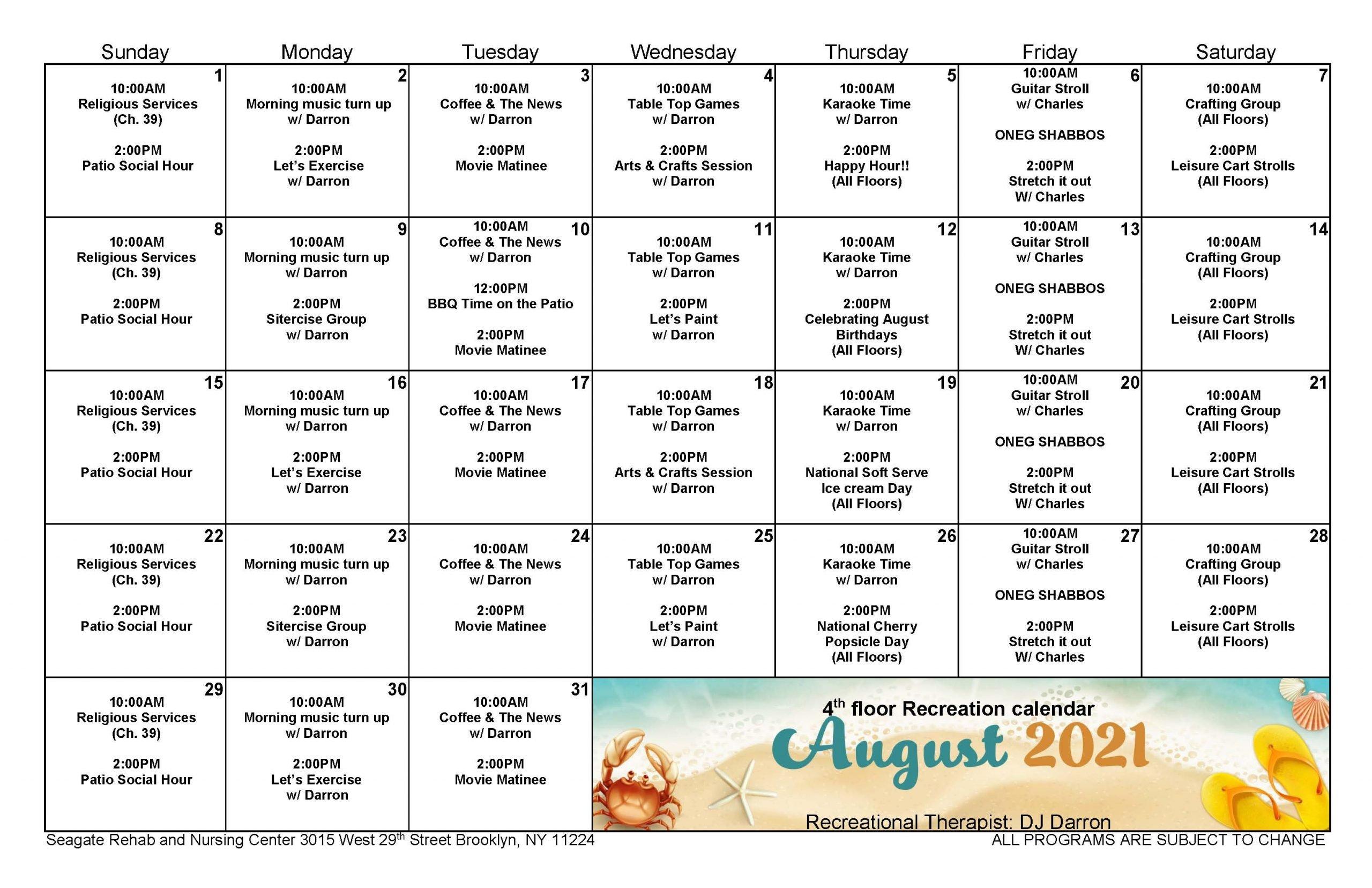 Seagate August Event Calendar for 4th Floor
