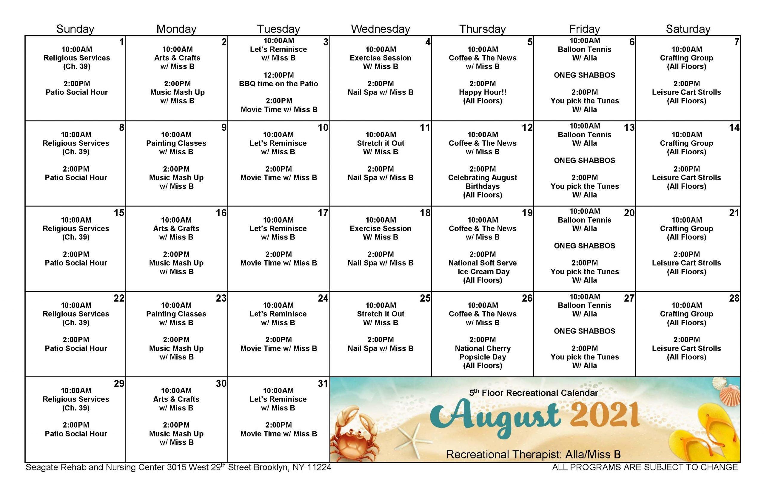 Seagate August Event Calendar for 5th Floor