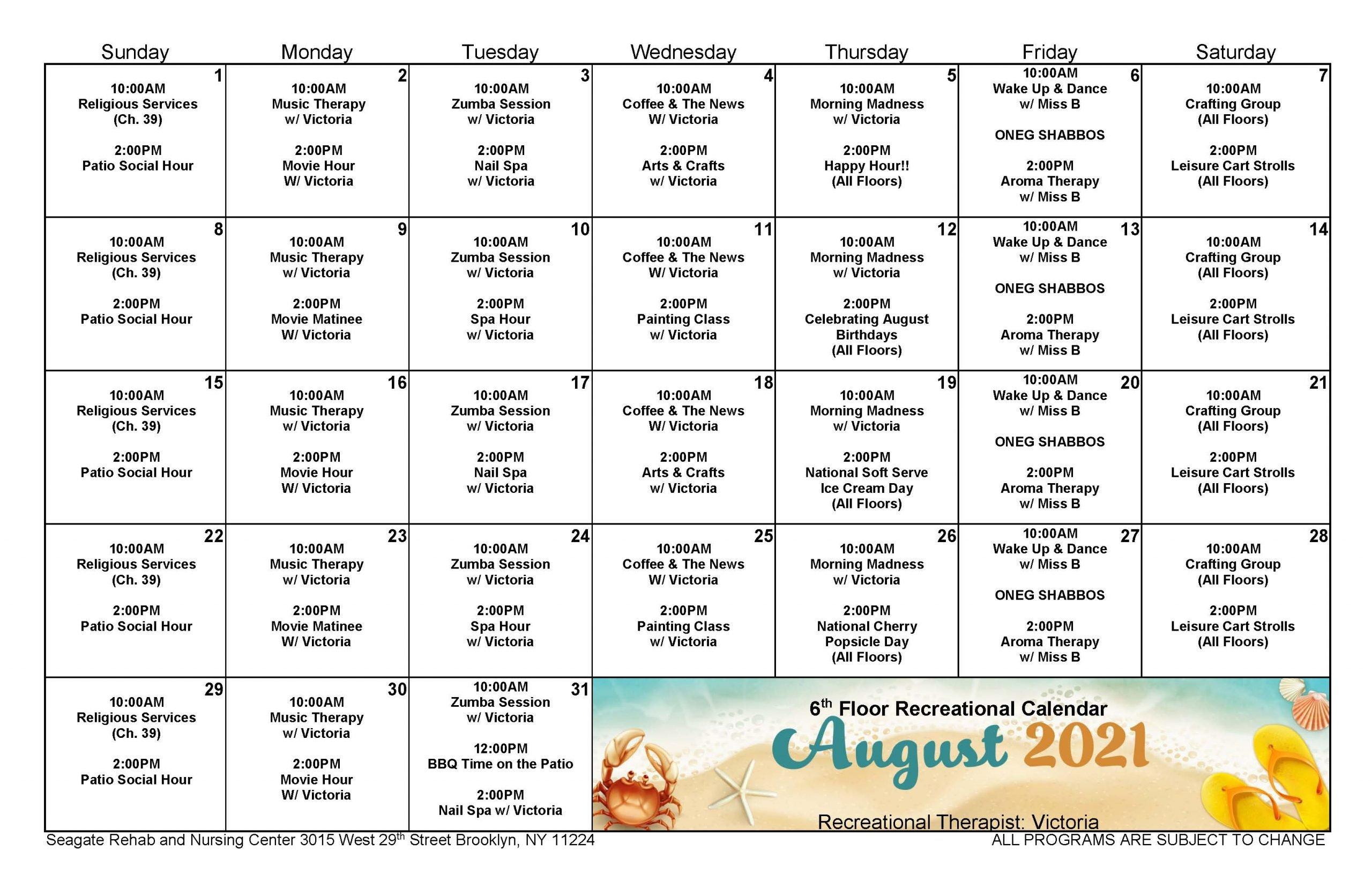 Seagate August Event Calendar for 6th Floor