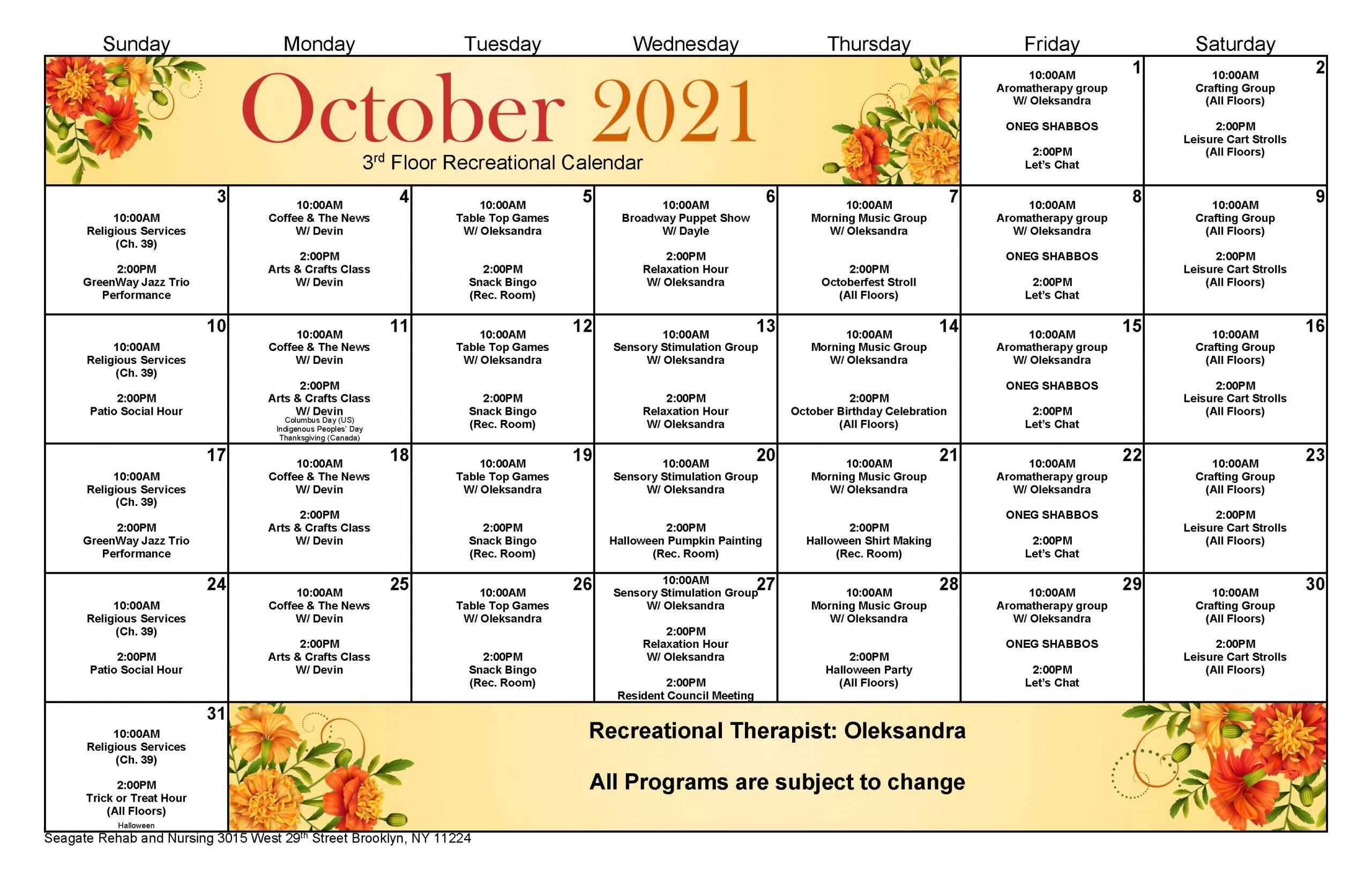 Seagate 3rd Floor Event Calendar