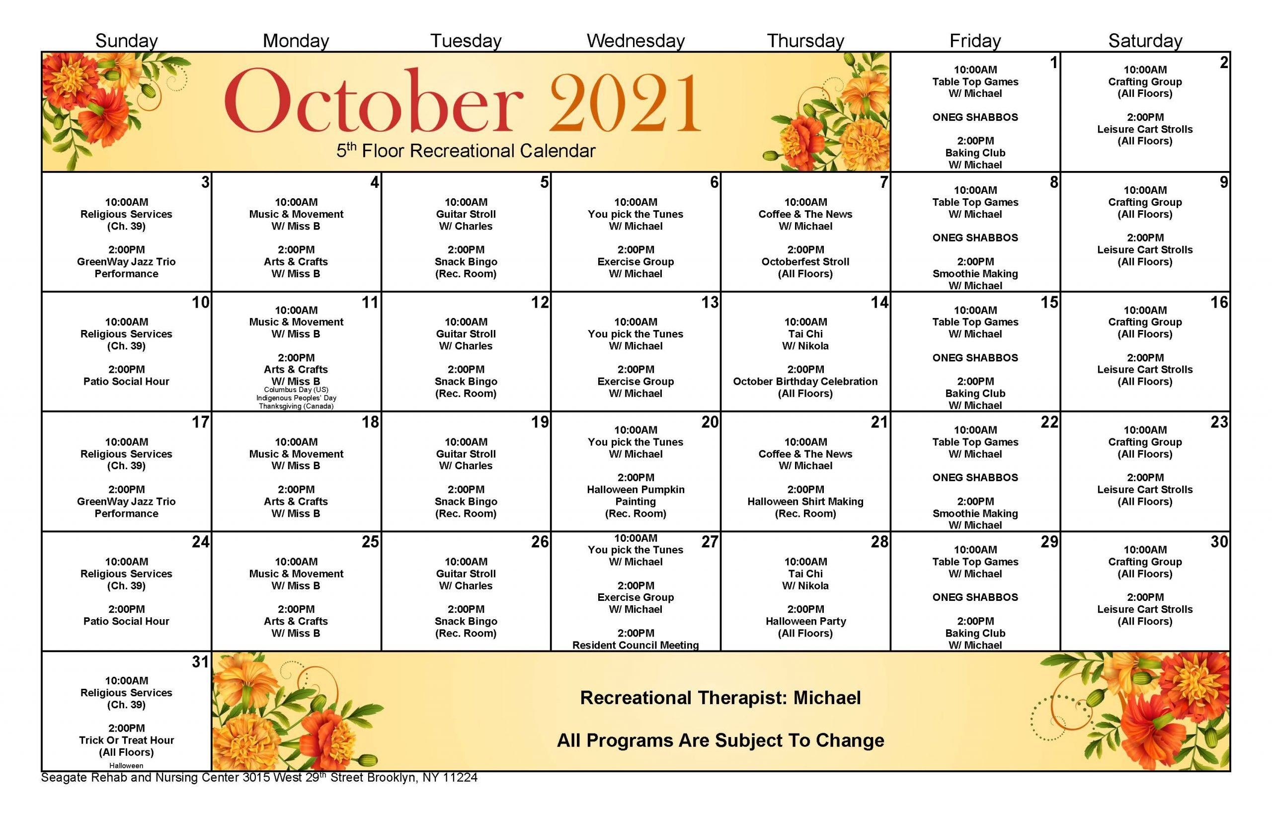 Seagate 5th Floor Event Calendar